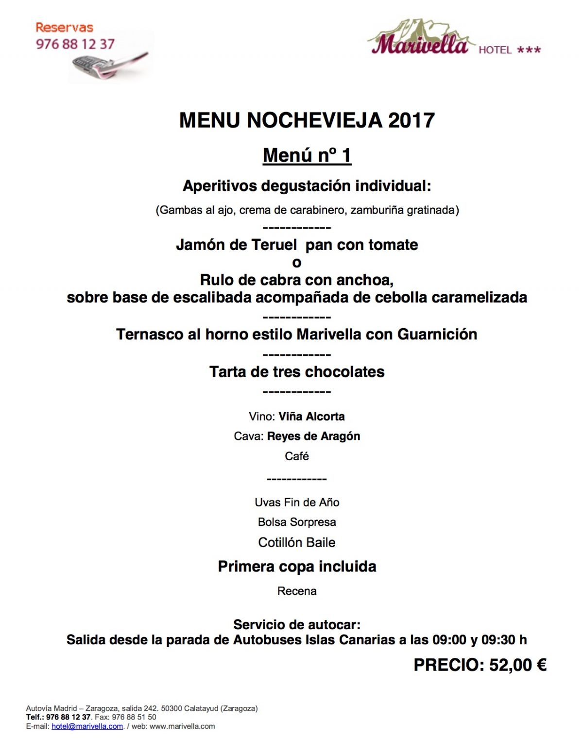 Nochevieja 2017 cena cotill n recena hotel - Menu cena de nochevieja ...